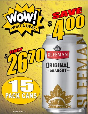 Sleeman Original Draught - 15Pk can - Save $4.00