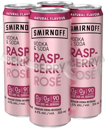 Smirnoff Rose Vodka Soda - Raspberry - 4Pk