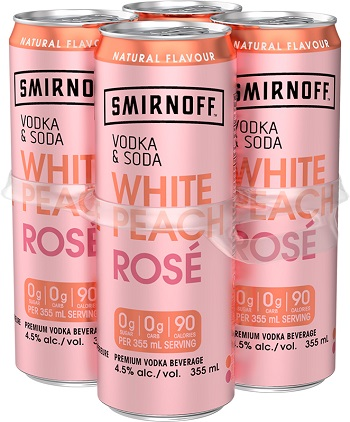 Smirnoff Rose Vodka Soda - White Peach - 4Pk