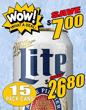 WOW!! Miller Lite - 15Pk can - Save $7.00 WOW!!