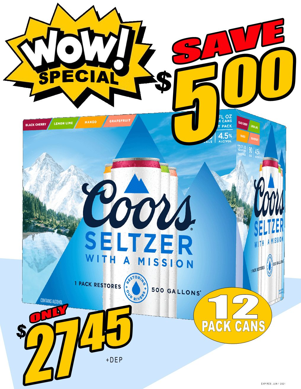 WOW DEAL!! Coors Seltzer Mixer - 12Pk can - Save $5.00!! WOW DEAL!!