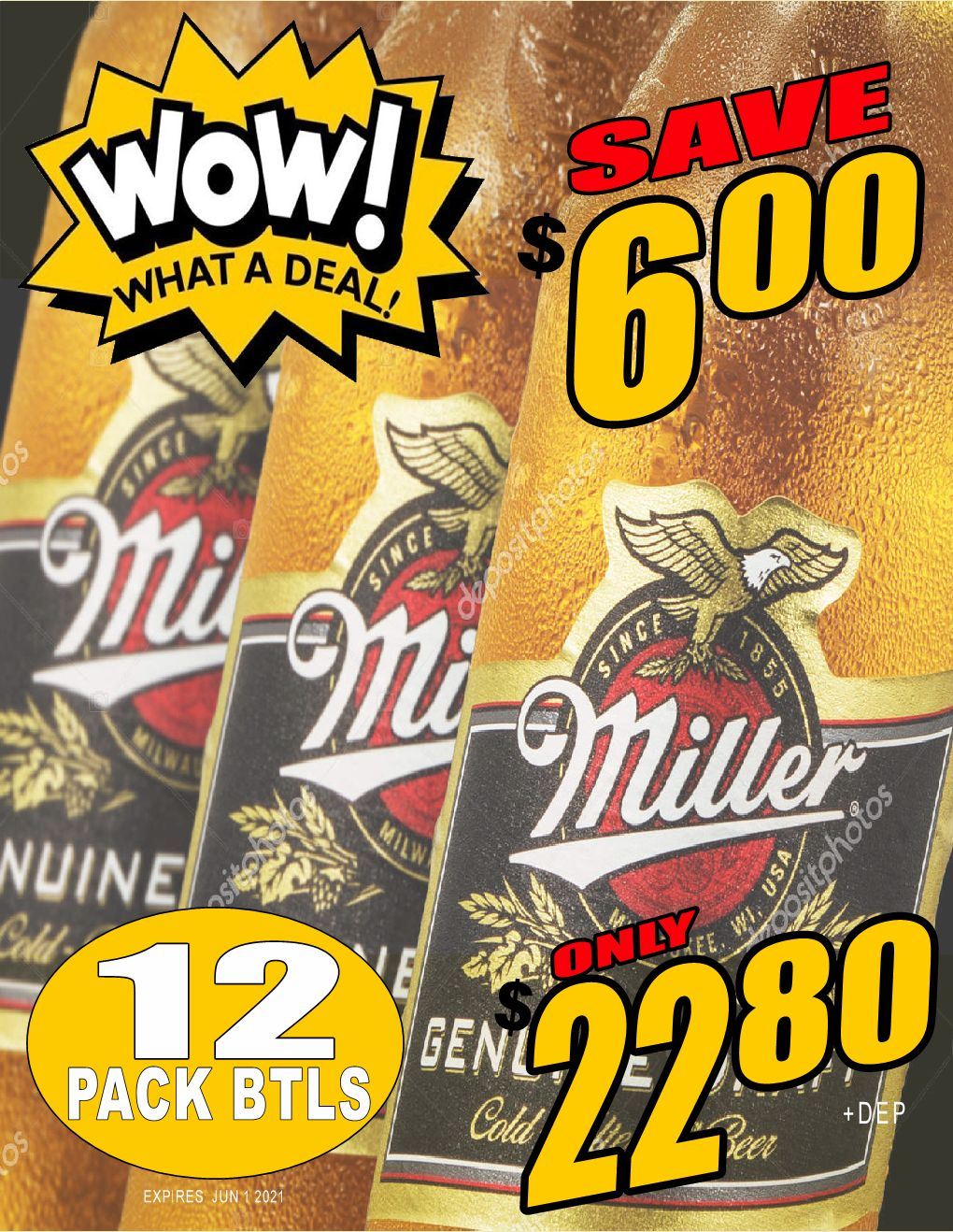 WOW!! Miller Genuine Draft - 12PB - Save $6.00!! WOW DEAL!!