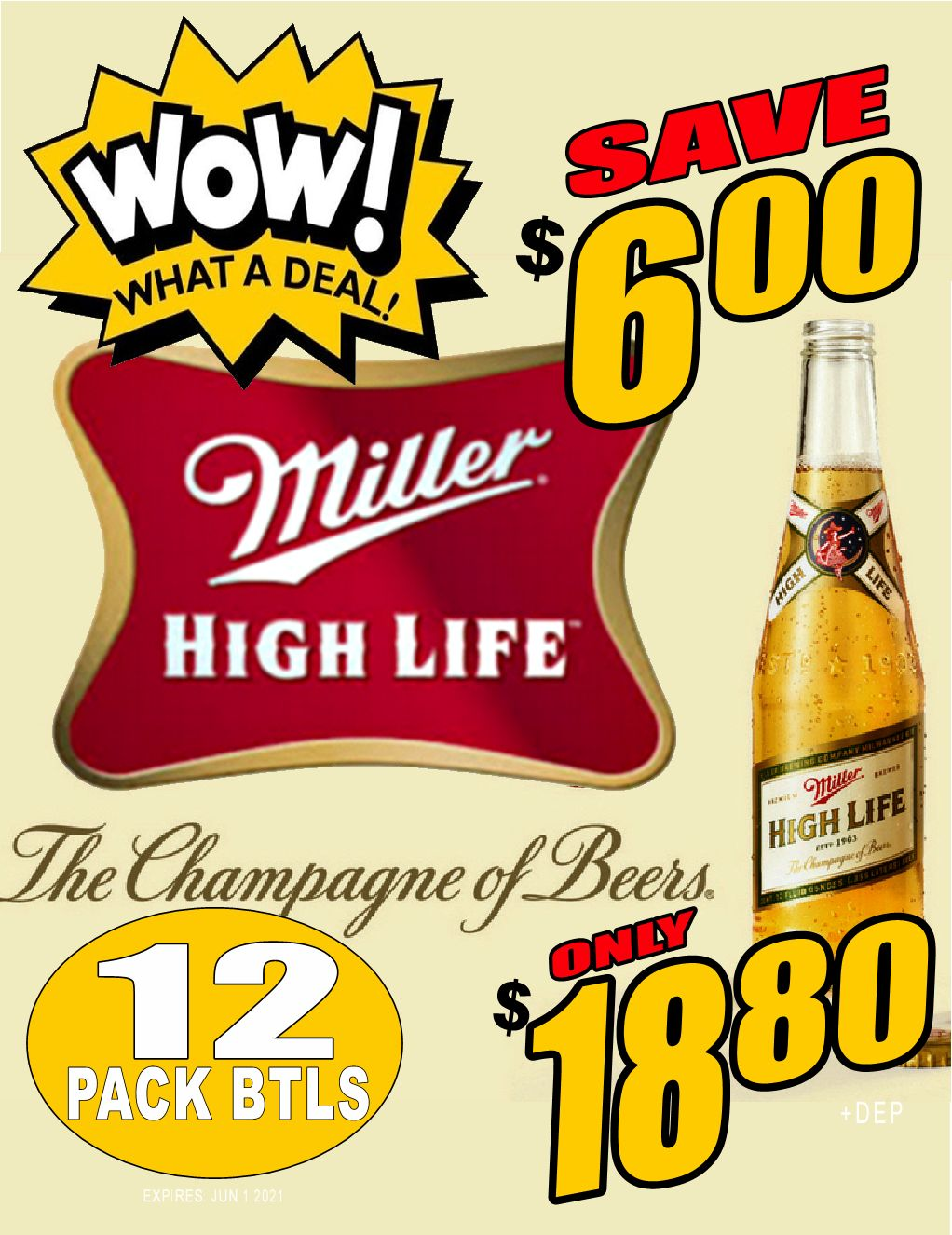 WOW!! Miller High Life - 12PB - Save $6.00!! WOW DEAL!!