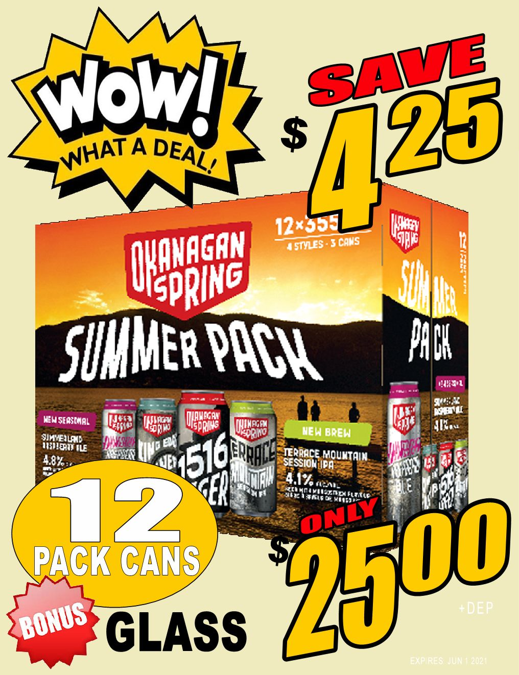 WOW DEAL!! Okanagan Springs Summer Mixer - 12pk can