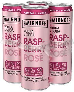 Smirnoff Soda - Raspberry Rose - 4x355ml