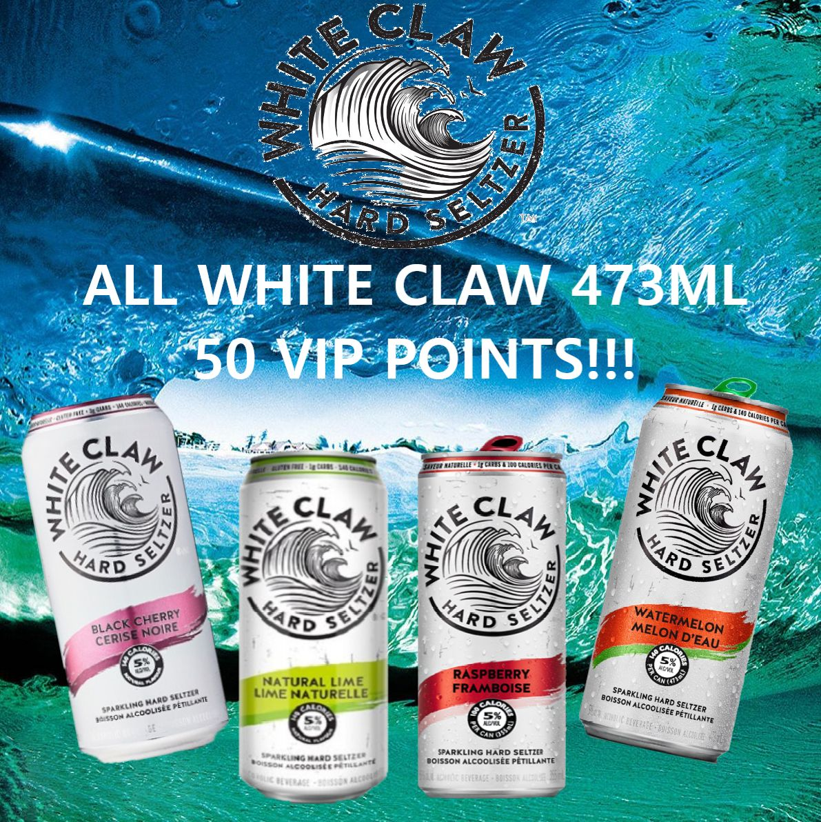 White Claw Black Cherry, Lime, Raspberry & Watermelon - 473ml