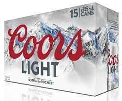 Coor's Light Lager - 15x355ml - Save $3.90