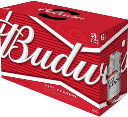 Budweiser Lager - 15x355ml - Save $2.00